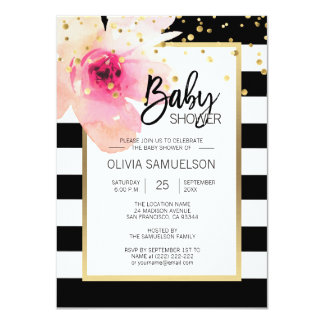 Black White Watercolor Pink Floral Baby Shower Card