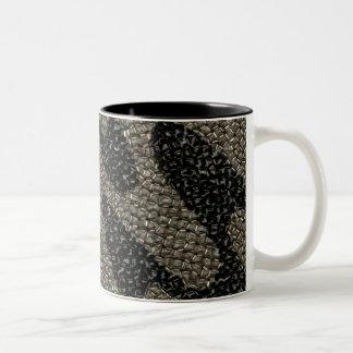 Black & White Wavy Sequin Two-Tone Coffee Mug