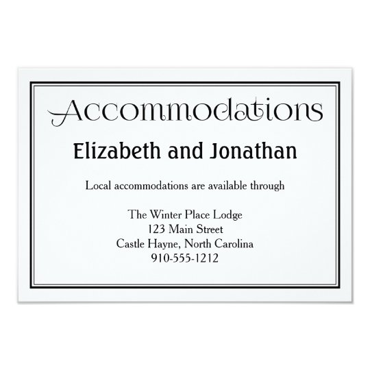 Black & White Wedding Accommodations Card