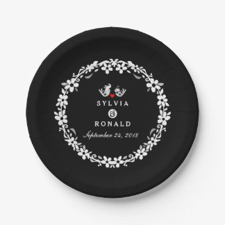 Black & White Wedding Birds Names Wedding Plates 7 Inch Paper Plate