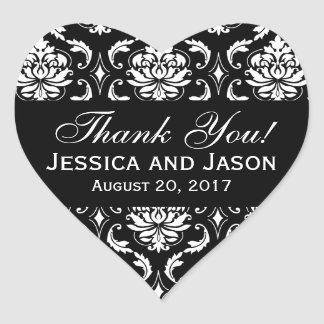 Black White Wedding Damask Thank You Label Heart Sticker