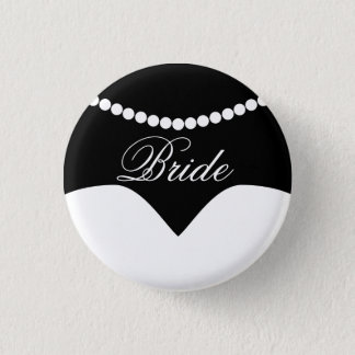 Black White Wedding Dress Pearl Necklace Bride 1 Inch Round Button