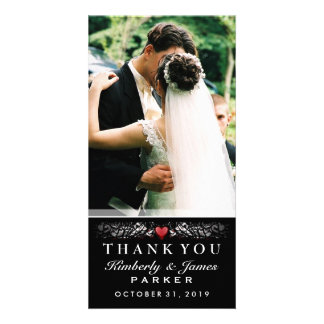 Black & White Wedding Heart Photo Thank You Card Personalized Photo Card