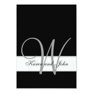 Black, White Wedding Monogram Initial Invitation