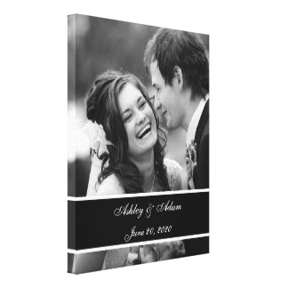 Black White Wedding Photo Personalized Canvas Print