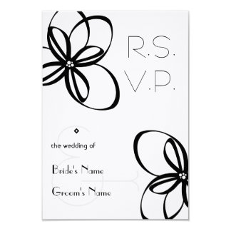 "Black & White Wedding R.S.V.P. 3.5"" X 5"" Invitation Card"