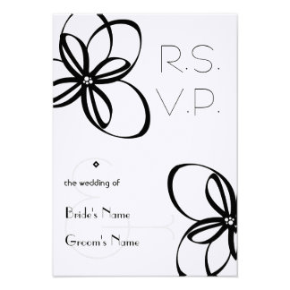 Black White Wedding R S V P Personalized Announcement