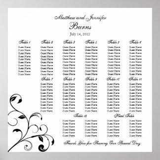 Black & White Wedding Reception Seating Chart Poster