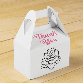 Black White Wedding Rose Flower Pink Thank You Favor Box