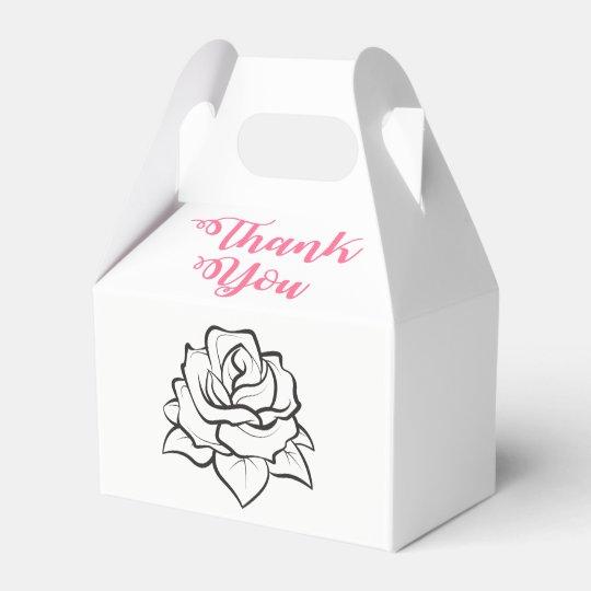Black White Wedding Rose Flower Pink Thank You Favor Box