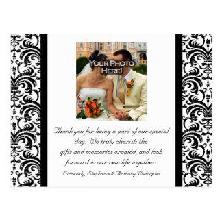 Black/White Wedding Thank You Color Photo Postcard