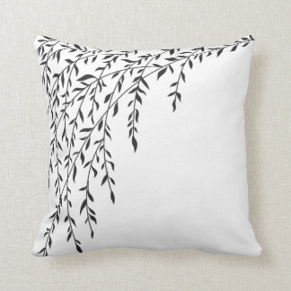 Black & White Weeping Willow Tree Branches Leaves Throw Pillow
