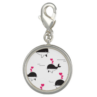 Black & White Whale Design with Hearts Charms