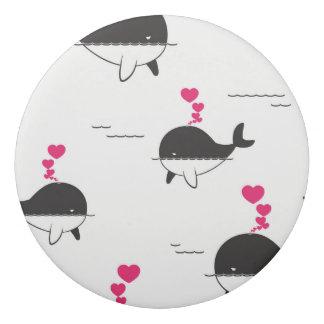 Black & White Whale Design with Hearts Eraser