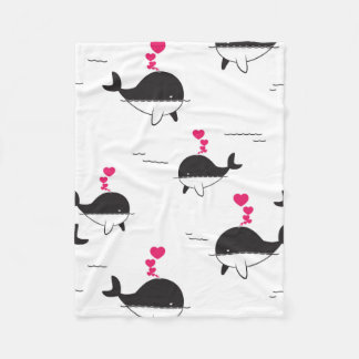 Black & White Whale Design with Hearts Fleece Blanket