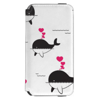 Black & White Whale Design with Hearts Incipio Watson™ iPhone 6 Wallet Case