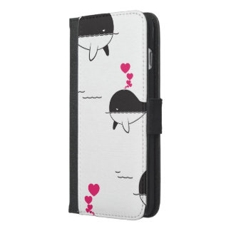 Black & White Whale Design with Hearts iPhone 6/6s Plus Wallet Case