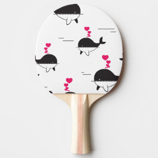 Black & White Whale Design with Hearts Ping Pong Paddle