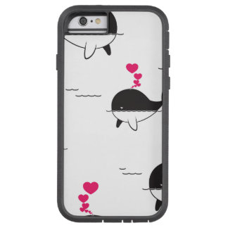 Black & White Whale Design with Hearts Tough Xtreme iPhone 6 Case