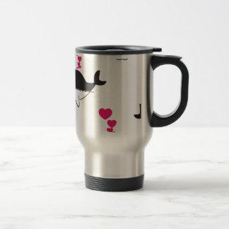 Black & White Whale Design with Hearts Travel Mug