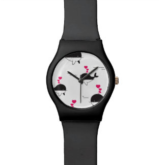 Black & White Whale Design with Hearts Watch