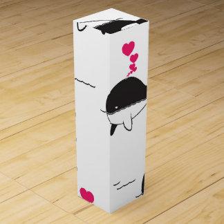 Black & White Whale Design with Hearts Wine Box