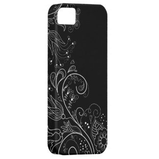Black White Whimsical Floral iPhone 5 Case
