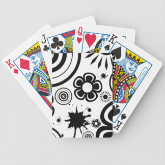 Black & White Whimsical Flowers, Circles, Splatter Bicycle Playing Cards
