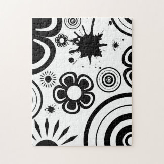 Black & White Whimsical Flowers, Circles, Splatter Jigsaw Puzzle