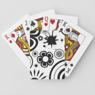 Black & White Whimsical Flowers, Circles, Splatter Playing Cards