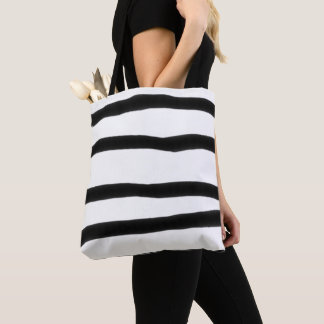Black White Wide Stripe Hand Drawn Crooked Quirky Tote Bag