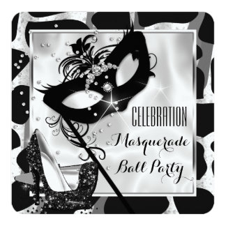 Black White Wild Masquerade Ball Party Card