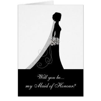 Black White, Will You Be My Maid of Honour? Stationery Note Card