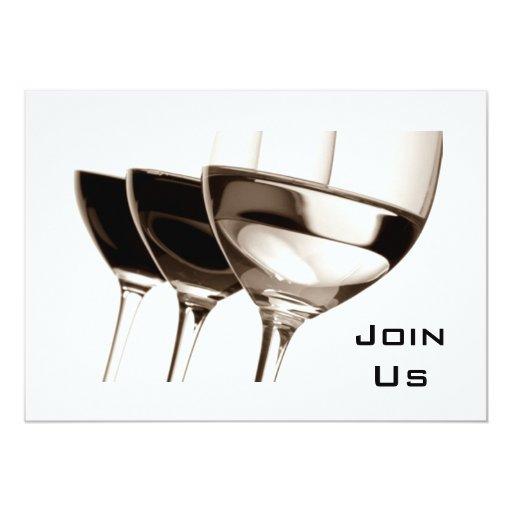 Black White Wine Glass Adult Party Invitation Zazzle