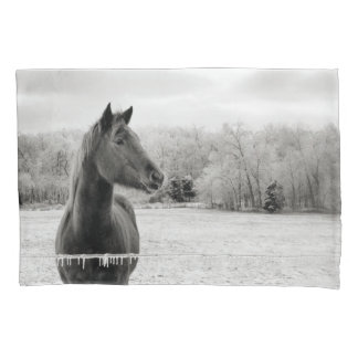 Black & White Winter Horse pillow case Pillowcase