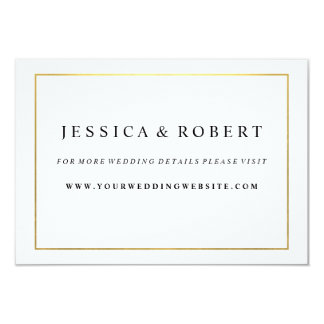 "Black White with Gold Wedding Website Insert Card 3.5"" X 5"" Invitation Card"