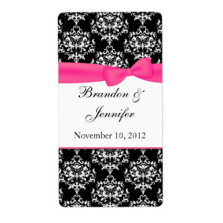 Black White with Pink Damask Mini Wine Labels