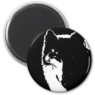 Black & White Wolf Magnet