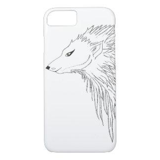 Black & White Wolf Sketch iPhone 7 Case