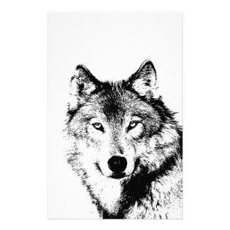 Black & White Wolf Stationery Paper
