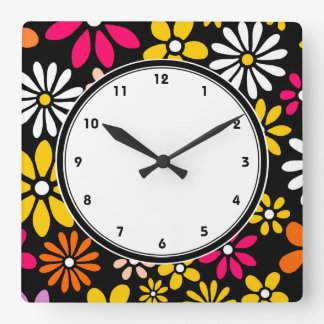 Black white yellow and pink Flower pattern Square Wall Clock