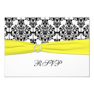 "Black, White, Yellow Damask RSVP Card 3.5"" X 5"" Invitation Card"