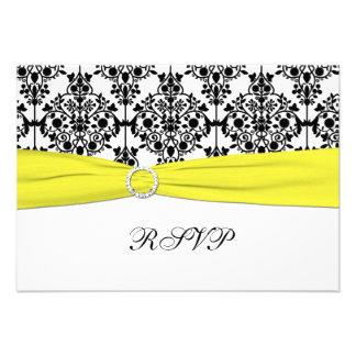 Black, White, Yellow Damask RSVP Card Invitations