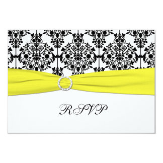 "Black, White, Yellow Damask RSVP Card 3.5"" X 5"" Invitation Card"