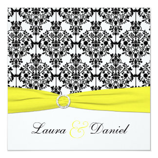 Black, White, Yellow Damask Wedding Invitation