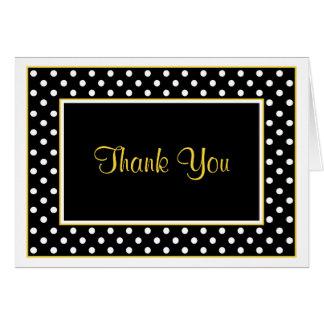 Black White Yellow Polka Dot Wedding Thank You Card