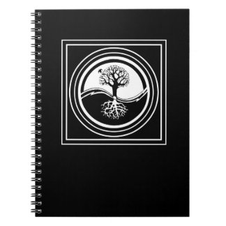 Black & White Yin Yang Tree Symbol Notebook
