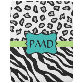 Black White Zebra and Leopard Skin Monogram iPad Cover