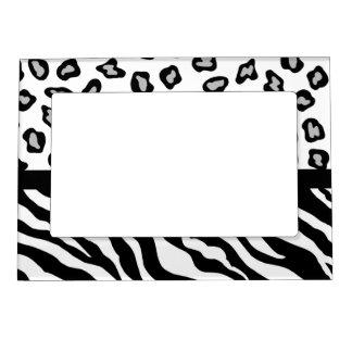 Black White Zebra and Leopard Skin Photo Photo Frame Magnets