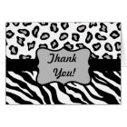 Black & White Zebra & Cheeta Skin Thank You Custom Card